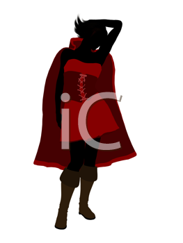 Royalty Free Clipart Image of a Girl in a Red Cape