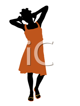 Royalty Free Clipart Image of a Girl in an Orange Dress
