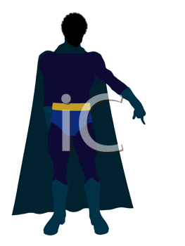 African American super hero silhouette dressed in shorts on a white background