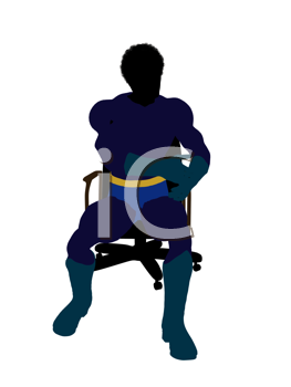 Royalty Free Clipart Image of a Superhero in a Chair
