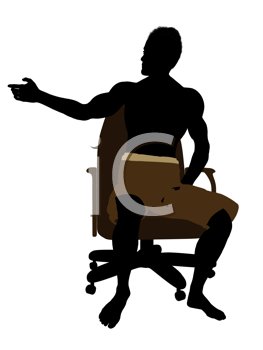 Royalty Free Clipart Image of a Boy in Trunks Sitting on a Chair