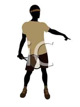 Royalty Free Clipart Image of a Man With a Tennis Racket