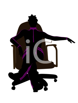 African american female workout sitting on a chair illustration silhouette on a white background