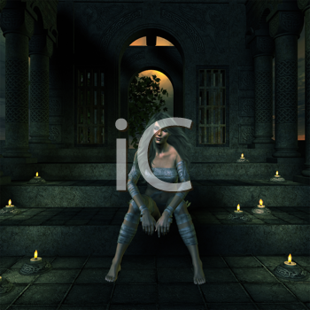 Royalty Free Clipart Image of a Woman Sitting in a Dark Chamber With Candles Around Her
