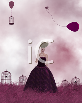 Royalty Free Clipart Image of a Woman Standing in Grass With Birdcages