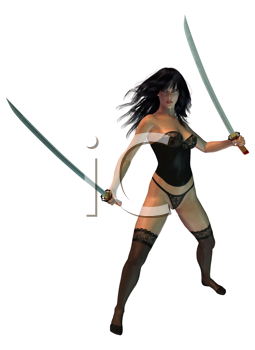 Royalty Free Clipart Image of a Woman Holding Two Swords