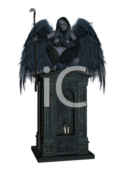 Royalty Free Clipart Image of an Angel on a Pedestal