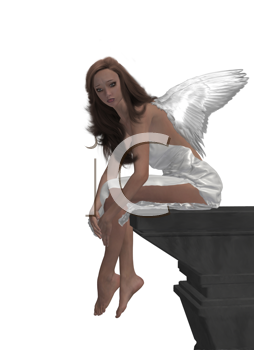 Royalty Free Clipart Image of an Angel on a Cliff