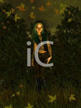 Royalty Free Clipart Image of a Girl in an Autumn Forest