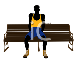 Royalty Free Clipart Image of a Man on a Park Bench