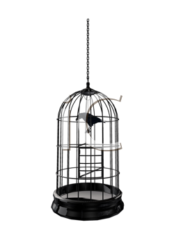Royalty Free Clipart Image of a Bird in a Cage