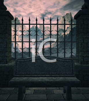 Royalty Free Clipart Image of a Fence