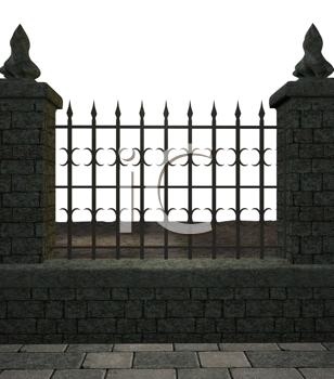 Royalty Free Clipart Image of a Metal Fence