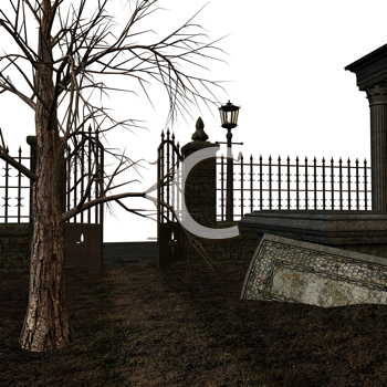 Royalty Free Clipart Image of a Gate in a Courtyard