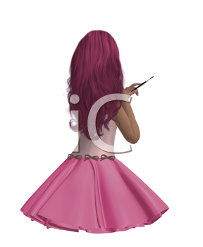 Royalty Free Clipart Image of a Girl From the Back
