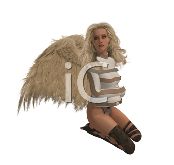 Royalty Free Clipart Image of an Angel in a Straight Jacket