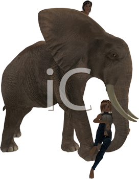 Royalty Free Clipart Image of a Boy and a Girl With an Elephant