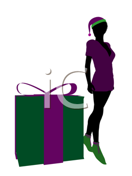 Royalty Free Clipart Image of an Elf on a Christmas Box