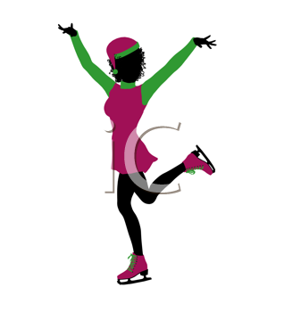 Royalty Free Clipart Image of an Ice Skater Elf