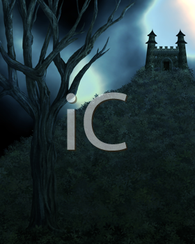 Royalty Free Clipart Image of a Dark Night With a Building in the Background