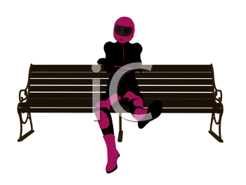 Royalty Free Clipart Image of a Motorcyclist on a Bench