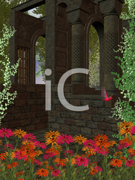 Royalty Free Clipart Image of an Indoor Garden