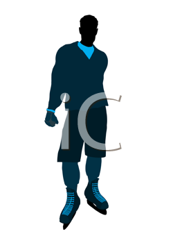 Male hockey player art illustration silhouette on a white background
