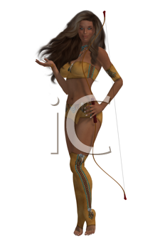 Royalty Free Clipart Image of a Woman With a Bow and Arrow
