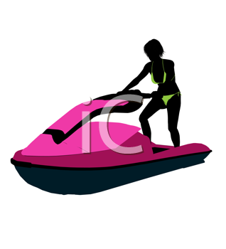 Royalty Free Clipart Image of a Woman and a Jet-Ski