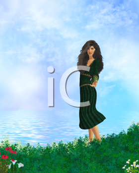 Royalty Free Clipart Image of a Woman in a Green Dress Beside Water