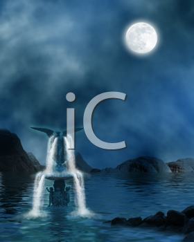 Royalty Free Clipart Image of a Fountain in an Ocean
