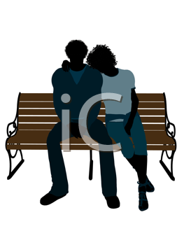 Royalty Free Clipart Image of a Romantic Couple on a Park Bench