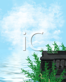 Royalty Free Clipart Image of a Water Landscape