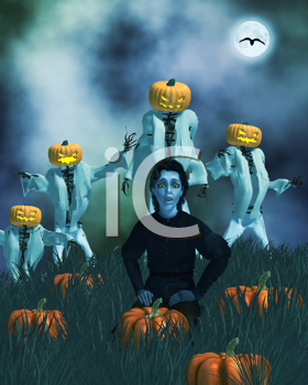 Royalty Free Clipart Image of Angry Jack-o-Lanterns Behind a Child in a Pumpkin Patch
