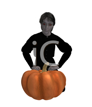 Royalty Free Clipart Image of a Boy Sitting Behind a Pumpkin