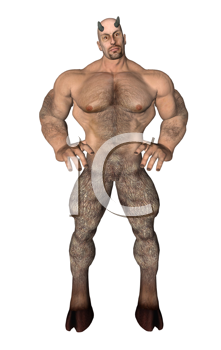 Standing satyr with hands on hips