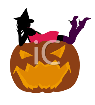 Royalty Free Clipart Image of a Woman in a Witch's Hat Lying on a Pumpkin