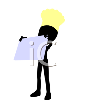 Royalty Free Clipart Image of a Silhouette Chef With a Sign