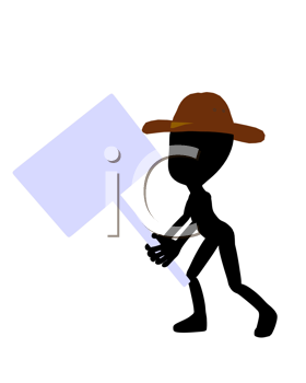 Royalty Free Clipart Image of a Silhouette Cowboy With a Sign