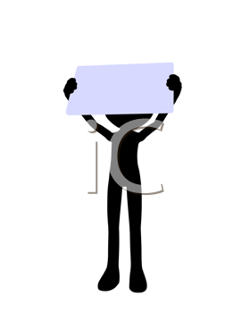 Royalty Free Clipart Image of a Worker Holding a Sign