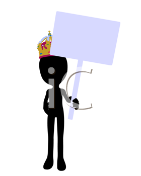 Royalty Free Clipart Image of a King Holding a Sign
