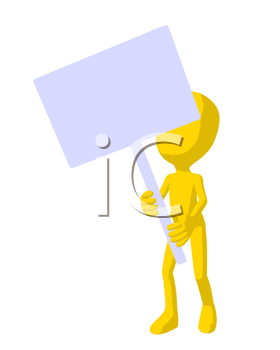 Royalty Free Clipart Image of a Yellow Man With a Sign