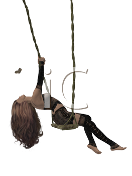 Royalty Free Clipart Image of a Woman on a Swing