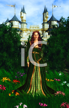 Royalty Free Clipart Image of a Princess in Front of a Castle