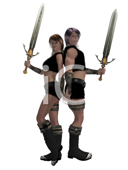 Warrior barbarian couple standing side by side holding swords