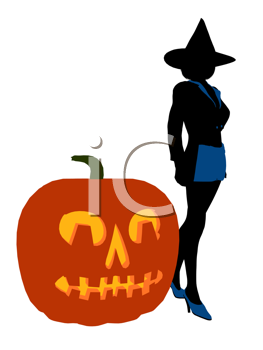 Royalty Free Clipart Image of a Witch Beside a Pumpkin