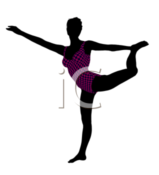 Royalty Free Clipart Image of a Gymnast Silhouette