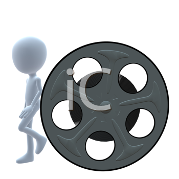 Royalty Free Clipart Image of a 3D Man and a Movie Reel