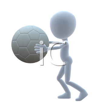 Royalty Free Clipart Image of a Guy With a Soccer Ball