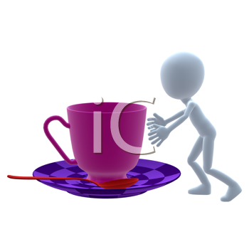 Royalty Free Clipart Image of a 3D Guy With a Teacup